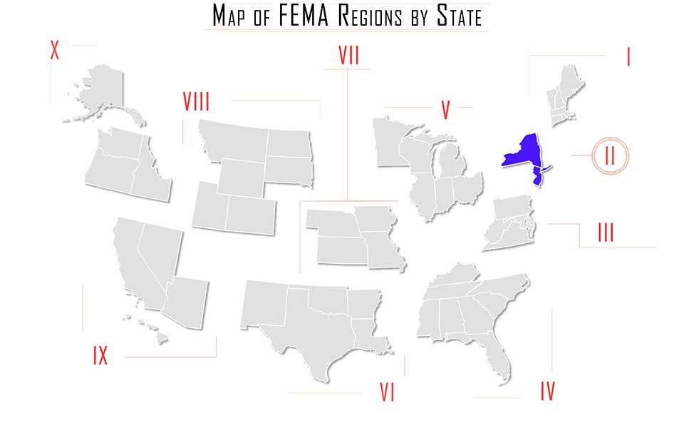 FEMA Region by State Map