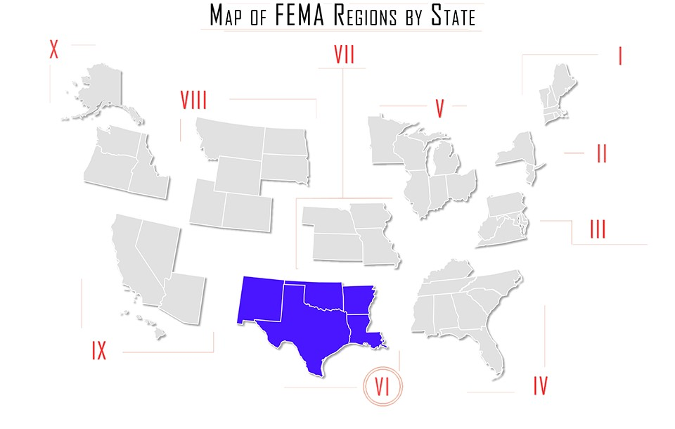 FEMA Region 6 Map