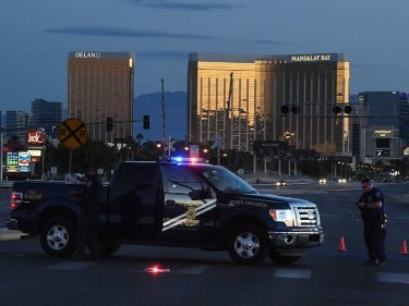 Police at concert venue outside Mandalay Bay