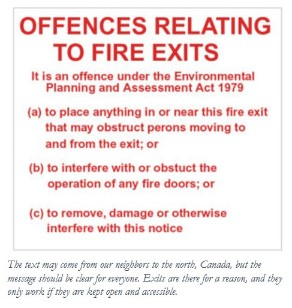 Canadian Fire Exit Warning Sign