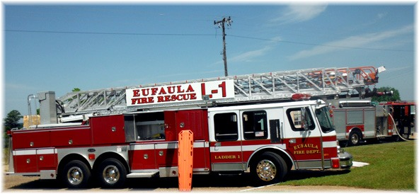 Eufaula Fire Vehicle, truck, long ladder, eufaula fire rescue sign