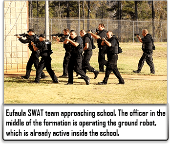Eufaula SWAT Team approaches school, weapons drawn
