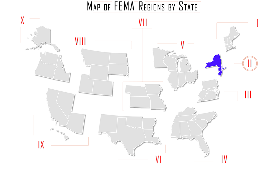 FEMA region ii, FEMA region 2, map with New York NY, New Jersey NJ, Puerto Rico PR, and Virginia VI