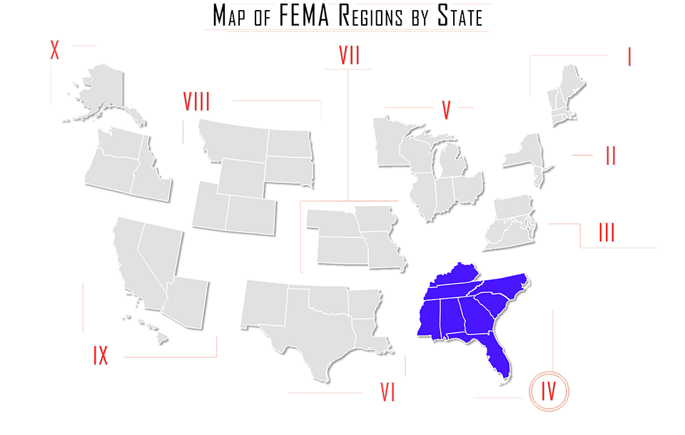 FEMA region iv, FEMA region 4, map with Alabama AL, Florida FL, Georgia GA, and Kentucky KY