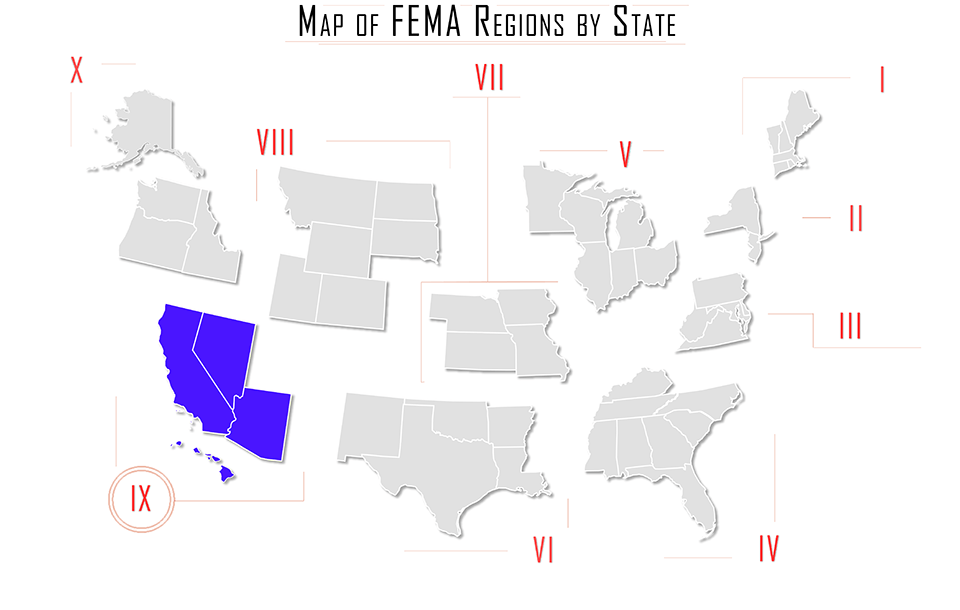 FEMA region ix, FEMA region 9, map with Arizona AZ, California CA, Nevada NV, and Hawaii HI
