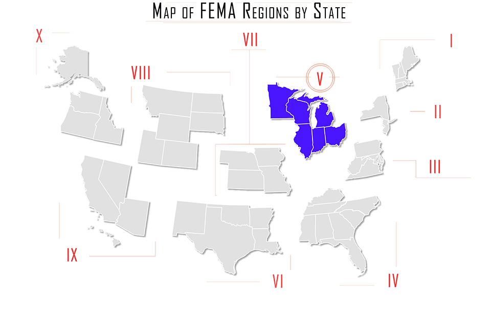 FEMA region v, FEMA region 5, map with Illinois, Indiana, Ohio, Michigan, Minnesota, and Wisconsin