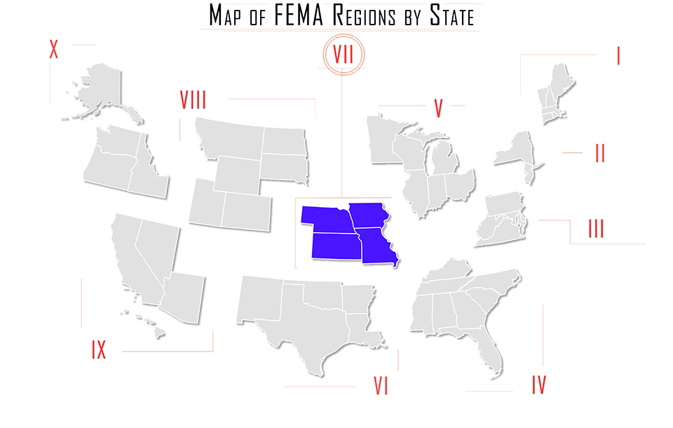 FEMA region vii, FEMA region 7, map with Iowa, Kansas, Missouri, Nebraska