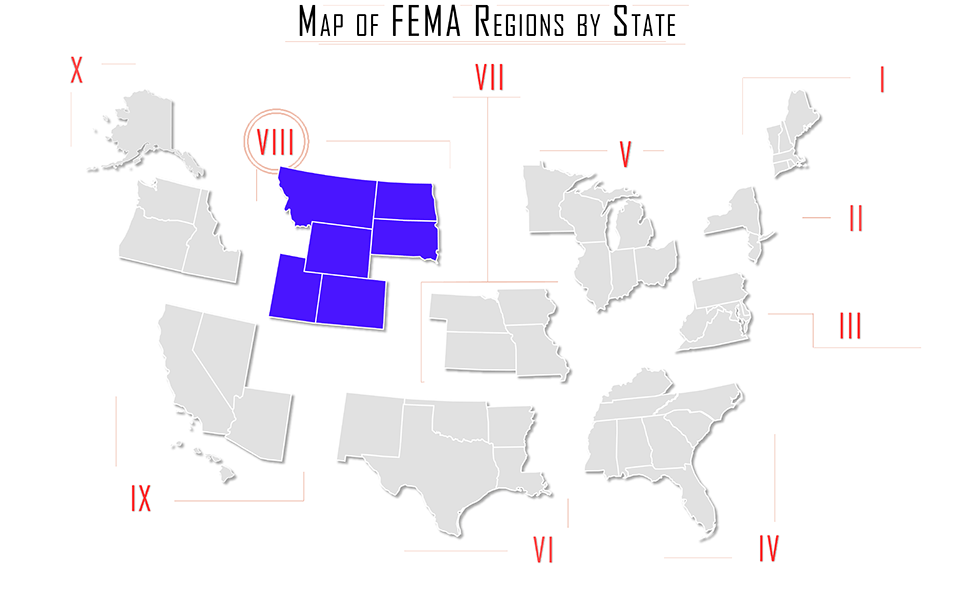 FEMA region viii, FEMA region 8, map with Montana MT, North Dakota ND, South Dakota SD, Wyoming WY, Utah UT, and Colorado CO