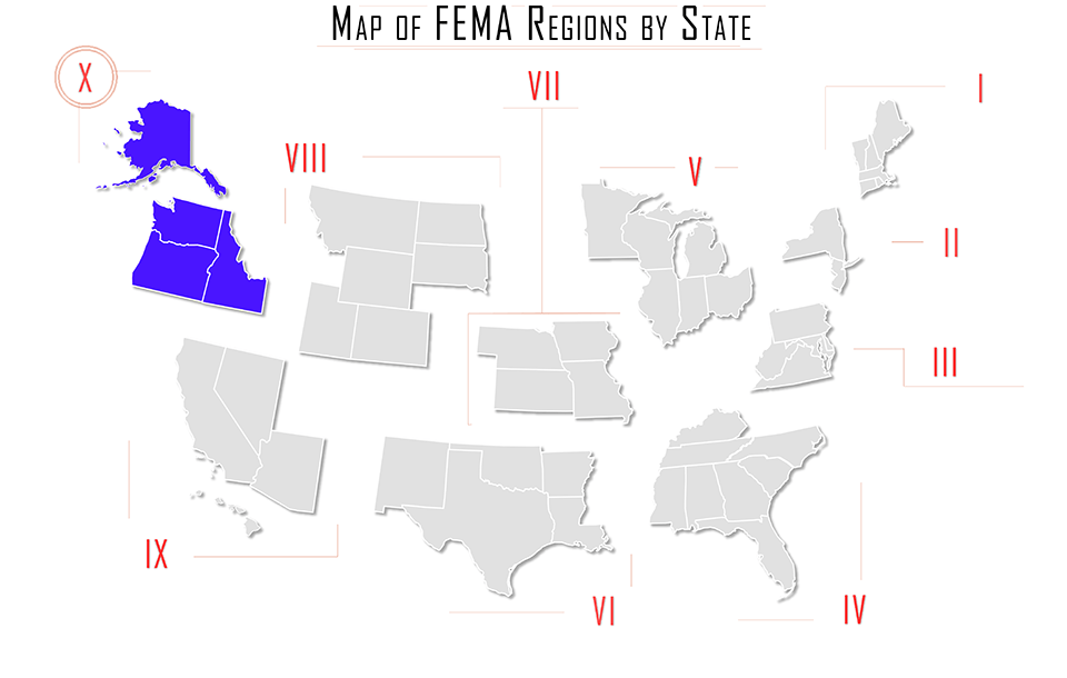 FEMA region x, FEMA region 10, map with Alaska AK, Idaho ID, Washington WA, Oregon OR