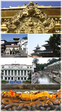 Collage of images from Kathmandu city in Nepal