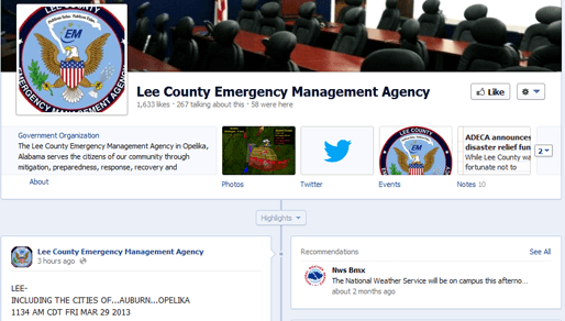 Lee County EMA Emergency Management Facebook page