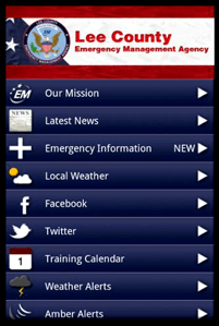 Lee County EMA Emergency Management Application for staying connected in emergency situations with no media access