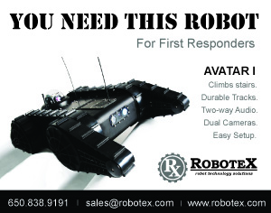 Robotex Avatar I, unmanned ground vehicle for first responders. climbs stairs, durable tracks, two-way audio, dual cameras, easy setup