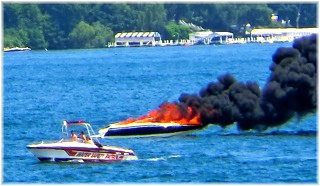Water Safety Patrol - Boat on Fire