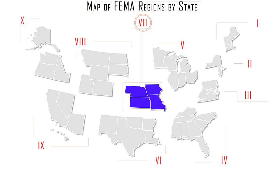 FEMA region vii, FEMA region 7, map with Iowa IA, Kansas KS, Missouri MO, Nebraska NE